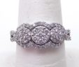Ladies 14k White Gold 3 Stone Illusion 1 Cts. Diamond Cluster Ring