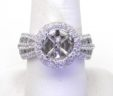 Ladies 14k White Gold 3.75 Cts. Diamonds Round Halo Semi-Mount Ring