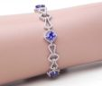 Ladies 14k White Gold 6.8Cts Princess Cut Tanzanite w/2Cts Accent Diamond Bracelet