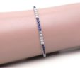Ladies 14k White Gold Blue Sapphire & Diamonds Tennis Bracelet