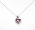 Ladies 14k White Gold Chain w/Rubies & Diamonds Heart Pendant