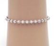 Ladies 14k White Gold Diamond Cut Beaded Anklet