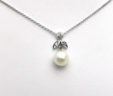 Ladies 14k White Gold Dangle Pearl Pendant Diamond Accented w/Chain