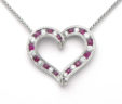 Ladies 14k White Gold Diamonds & Rubies Open Heart Necklace