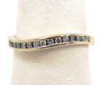 Ladies 14k White Gold Diamonds Wavy Wedding Ring