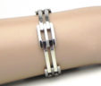 Ladies 14k White Gold Open Squared & Rectangular Style Link Bracelet