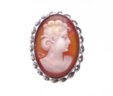 Ladies 14k White Gold Oval Cameo Earrings