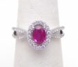 Ladies 14k White Gold Oval Ruby Diamond Accented Split Shank Ring