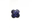 Ladies 14k White Gold Round & Priness Cut Blue Sapphire Squared Earrings