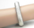 Ladies 14k White Gold Satin-Thread Design Bangle