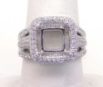 Ladies 18k White Gold Cushion Top Triple Shank 1.56 Cts. Diamond Semi-Mount