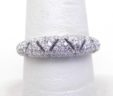 Ladies 14k White Gold Open Triangular Design Diamond Dome Ring