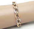 Ladies 14k White & Pink Gold Twisted Oval Link Bracelet