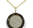 Ladies 14k Yellow Gold 2.30 Cts. Diamonds Round Smokey Topaz Pendant w/Chain