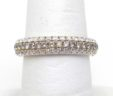 Ladies 14k Yellow Gold 1.66 Cts. 3 Row White & Champagne Diamond Band Ring