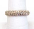 Ladies 14k Yellow Gold 1.68 Cts. 3 Row Champagne Diamonds Band Ring