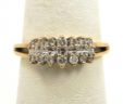 Ladies 14k Yellow Gold 2 Rows Diamonds Wedding Ring