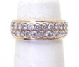 Ladies 14k Yellow Gold 3/4 Carat Double Row Diamonds Size 4 1/2 Band Ring