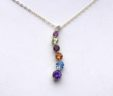 Ladies 14k Yellow Gold Semi-Precious Colored Stones Journey Pendant w/Chain