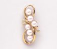 Ladies 14k Yellow Gold 6 Pearl Bow Shaped Pin