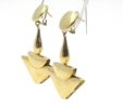 Ladies 14k Yellow Gold Arrown Drop Omega Back Earrings