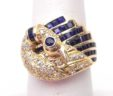 Ladies 14k Yellow Gold 1.34 Blue Sapphire & Diamonds Swan Band Ring