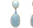 Ladies 14k Yellow Gold Diamonds, Amazonite & Blue Topaz Oval Dangle Earrings