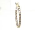 Ladies 14k Yellow Gold Inside/Out Cubic Zurconia 3/4 Inch Hoop Earrings