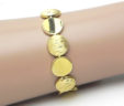 Ladies 14k Yellow Gold Circular Concave & Convex Link Bracelet