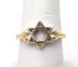 Ladies 14k Yellow Gold Open Star of David Ring