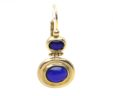 Ladies 14k Yellow Gold Blue Sapphire Oval Leverback Drop Earrings
