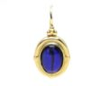 Ladies 14k Yellow Gold Oval Blue Cabochon Lever Back Drop Earrings