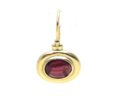 Ladies 14k Yellow Gold Garnet Oval Cabachon Leverback Drop Earrings