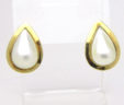 Ladies 14k Yellow Gold Pear Shaped Pearl Earrings