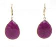 Ladies 14k Yellow Gold Pear Shaped Ruby Lever Back Earrings