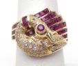 Ladies 14k Yellow Gold 1.34 Cts. Ruby & Diamond Swan Band Ring