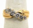 Ladies 14k Yellow Gold Slanted Diamonds Wedding Band