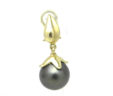 Ladies 14k Yellow Gold Tahitian Pearl Dangle Omega Back Earrings