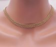 Ladies 14k Yellow Gold Three Row Beaded 16″ Necklace
