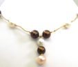 Ladies 14k Yellow Gold White & Rust Pearls Drop Necklace