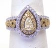 Ladies 18k White Gold 1.35 Cts. White & Yellow Diamonds Double Halo Pear Shaped Ring