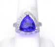Ladies 18k W Gold 5.80 Cts. Triangular Tanzanite & Diamond Cushion Ring