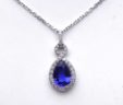 Ladies 18k White Gold 4 Cts. Pear Shaped Tanzanite Diamond Halo Pendant w/Chain