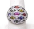 Ladies 18k White Gold 1.02 Cts. Diamonds Marquee Colored Sapphires Domed Ring