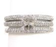 Ladies 18k White Gold 1.10 Cts. Diamonds Semi-Mount & 2 Bands Rings
