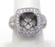 Ladies 18k White Gold 1.12 Cts. Diamonds Squared Top Semi-Mount