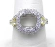 Ladies 18k White Gold 1.27 Cts. White & Natural Yellow Diamond Semi-Mount