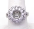 Ladies 18k White Gold 1.30 Cts. Diamond Two Tier Flower Top Semi-Mount