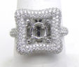 Ladies 18k White Gold 1.31 Cts. Diamonds Squared Top Sem-Mount