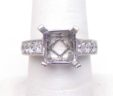 Ladies 18k White Gold 1.35 Cts. Graduating Diamonds Squared Top Semi-Mount